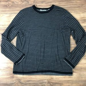 Vince Striped Double Layer Merino Wool Sweater L